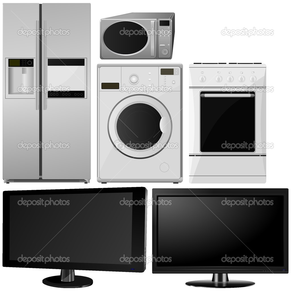 Set of of household appliances. vector — Stock Vector © Aleksandr ...