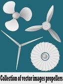 Collection of vector illustrations propellers. vector — Stock Vector