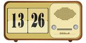 Vector illustration of old clock radio — Stock Vector