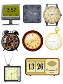 Collection of vector illustrations clock — Vector de stock