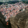 Kalampaka city under rocks, Meteora, Greece - Stock Photo