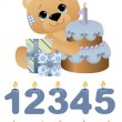 Cute toy with birthday cake — Stock Vector #6739801