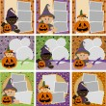 Collection of Halloween photo frames — Stock Vector