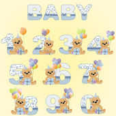 Collection of cute baby birthday digits — Stock Vector
