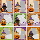 Collection of Halloween photo frames — Stock Vector