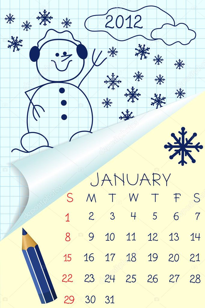 Cute Calendar Illustration : Cute schoolbook style calendar for — stock vector