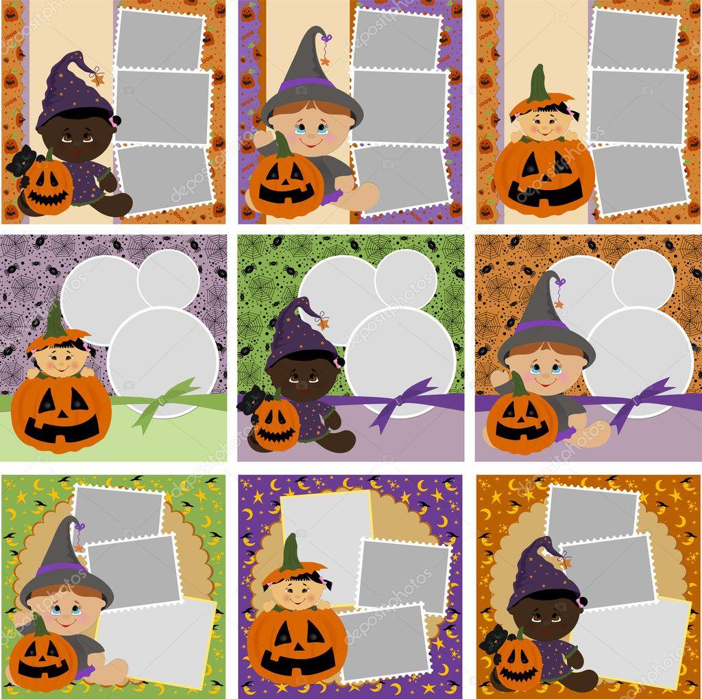 Collezione di cornici halloween — vettoriali stock