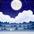 Stock Photo: Abstract landscape with moon and mountain
