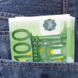 Euro money in jeans pocket background — Stock Photo