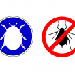 Aphid ladybird traffic signs — Stock Photo