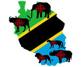 Big Five Tanzania cross lines — Stock Photo