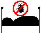 Prohibition sign for bedbugs in bed — Stock Photo