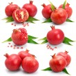 Royalty-Free Stock Photo: Set os pomegranate fruits with green leaf and cuts isolated