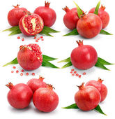 Set os pomegranate fruits with green leaf and cuts isolated — Stock Photo
