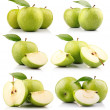 Set of green apple fruits with leaf isolated — Foto Stock #5846512