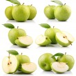 Set of green apple fruits with leaf isolated — Photo #5846512