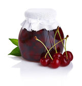 Cherry jam isolated on white background — Stock Photo
