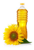Bottle of sunflower oil with flower isolated on white — Stock Photo