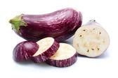 Purple eggplant vegetables isolated on white — Stock Photo