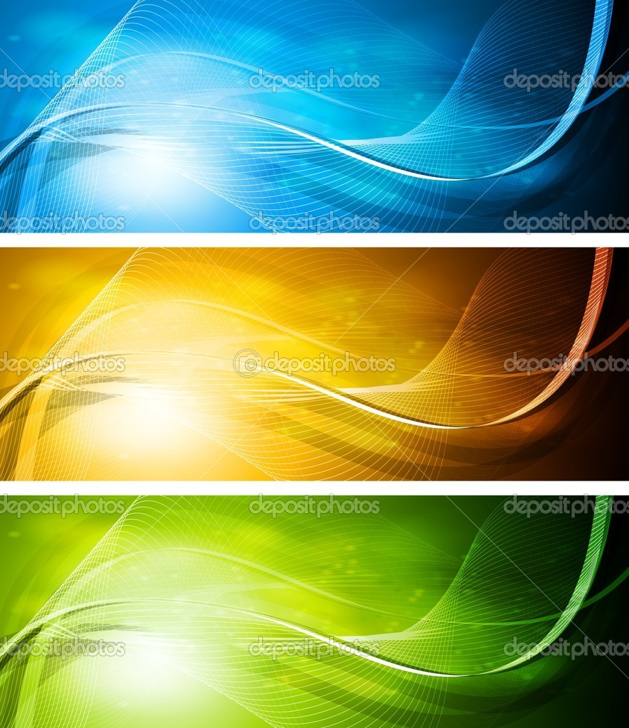 Simple colourful banners with wavy elements. Eps 10 vector  Stock Vector #6180140