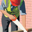 Front view of a construction worker cutting wood — Stock Photo