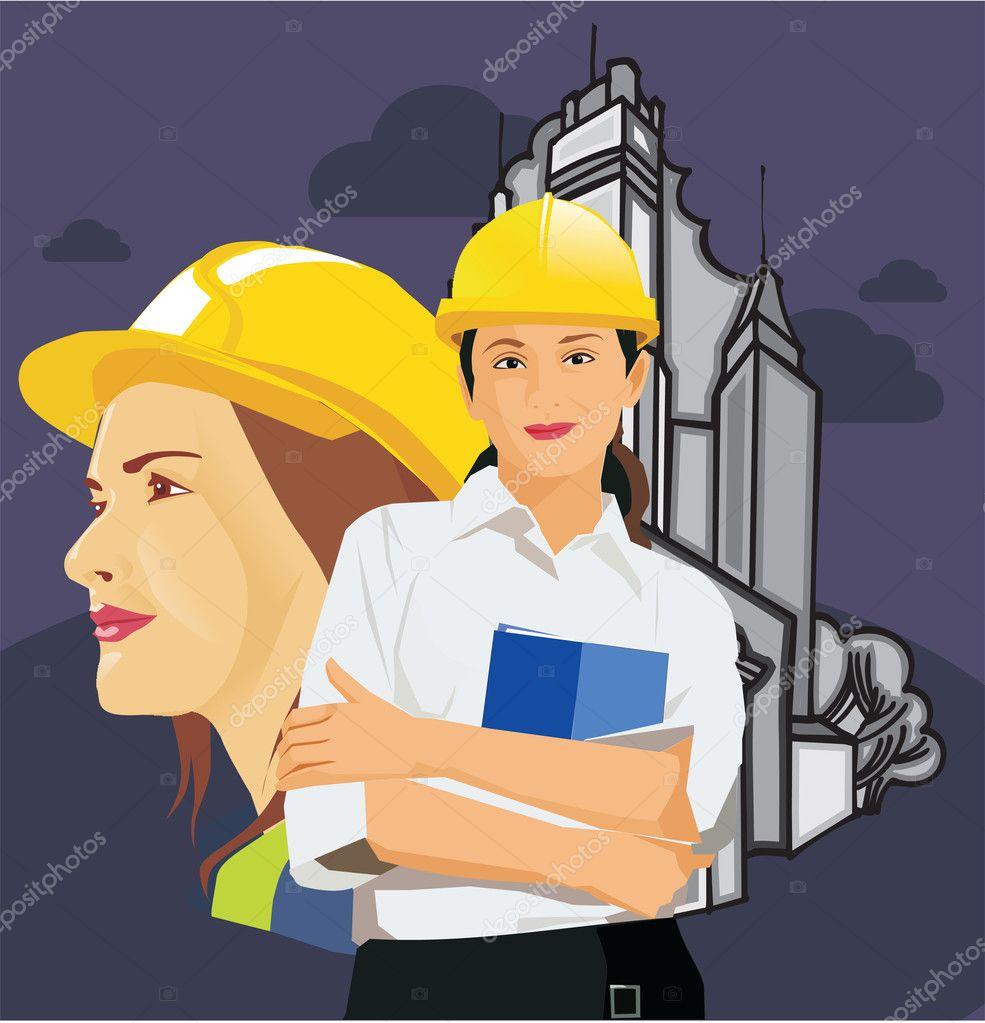 戴着安全帽的女建筑师
