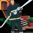 Stock Photo: Front view of fireman