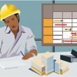 Front view of an architect working in office — Stock Photo