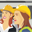 Stock Photo: Close-up view of two female architects