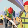 Construction workers at work on a construction site — Stock Photo