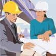 Engineers with blueprint - Stock Photo