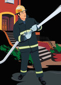 Front view of a fireman — Stock Photo