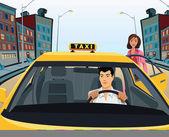 Mujer en taxi — Foto de Stock