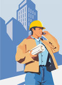 Construction worker talking on a mobile phone — Stock Photo