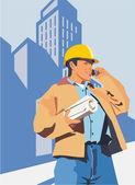 Trabajador de la construcción hablando por un teléfono móvil — Foto de Stock