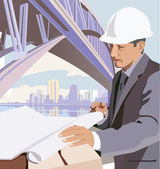 Side view of an architect viewing blueprint — Stock Photo