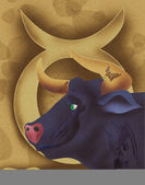 Close-up of bull with zodiac sign Taurus — Stock Photo
