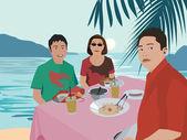 Tourists having breakfast by beach — Stock Photo