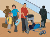 Tourists standing with luggage by escalator — Stock Photo