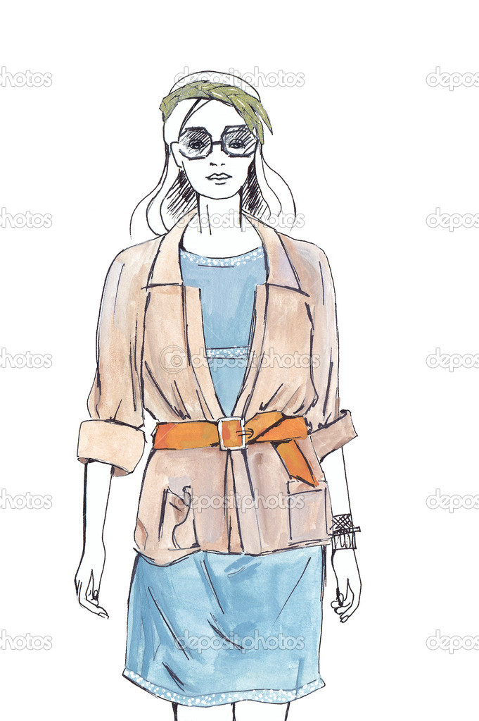 Девушка одетая рисунок