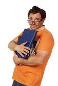 Giovane uomo che tiene il mazzo di libri — Foto Stock