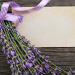Fresh lavender over wooden background — Stock Photo