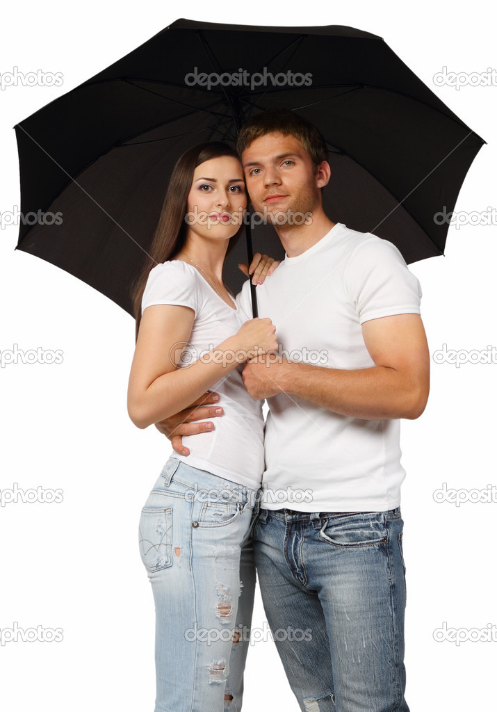 Portrait of a young couple with black umbrella  Stock Photo #5993947