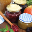 Still life with various types of  jam — Stock Photo
