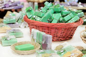 Herbal soaps in the shop — Stock Photo