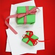 Stock Photo: Christmas cards with Christmas presents