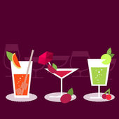 Set of different cocktails — Stock Vector