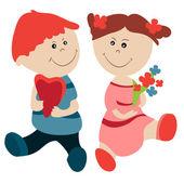 漂亮的女孩和男孩 — 图库矢量图片