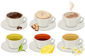 Set of cups with hot drinks — Stock Vector