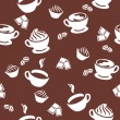 Stock Vector: Seamless pattern with cups of coffee